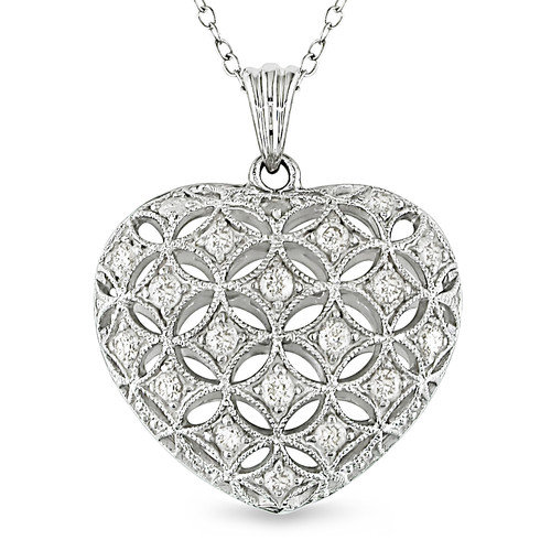 Amour Round Cut Diamond Heart Pendant with Chain Sterling Silver