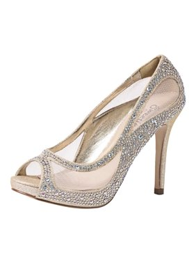 24add1bb9157 Product Image Sweetie s Shoes Nude Sheer Mesh Beaded Kylie Glamour Pumps  5.5-11 Womens