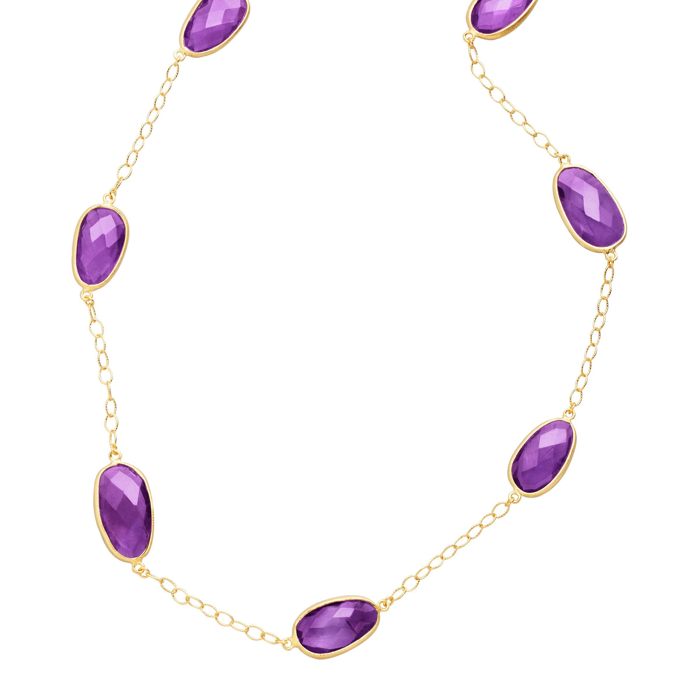 Piara 36 ct Natural Amethyst Station Necklace in 18kt Gold-Plated Sterling Silver by Richline Group