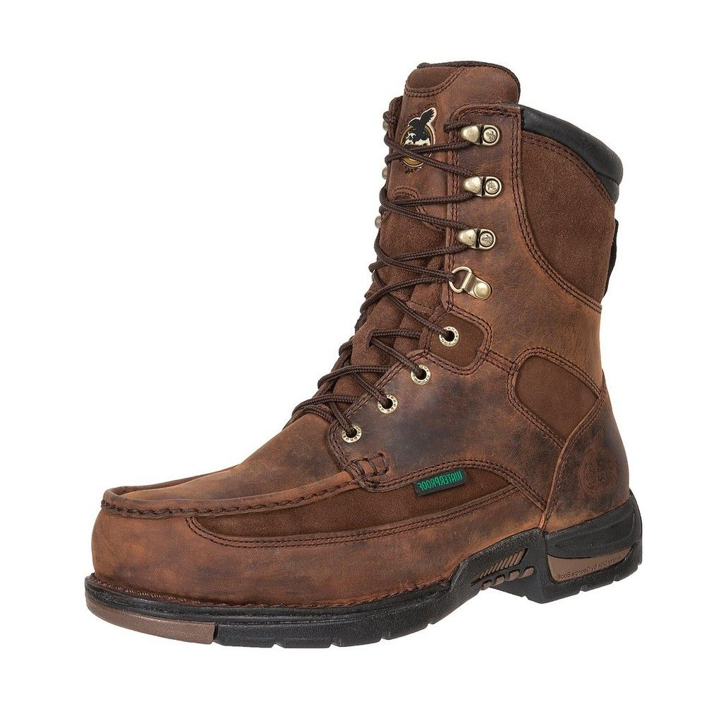 "Georgia Boot Work Mens 8"" Athens Waterproof Leather Brown G9453 by Georgia Boot"