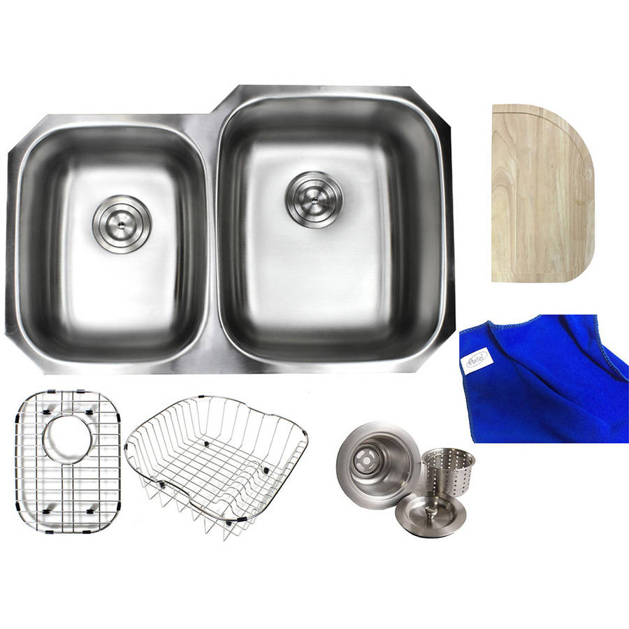 "Ariel Pearl 32"" Premium 16 Gauge Stainless Steel Undermount 40/60 Double Bowl Kitchen Sink Complete Package"