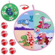 veZve Kids Dartboard Toy Game for Boys Girls Set with Sticky Balls, Dinosaurs