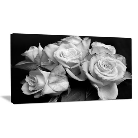 Design Art Bunch of Roses Black and White Floral Photographic Print on Wrapped Canvas