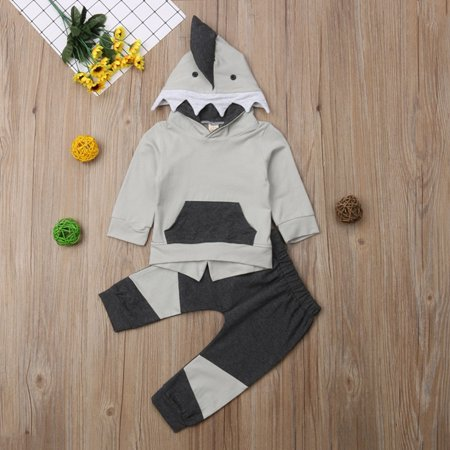 Toddler Infant Baby Boys Shark Long Sleeve Hoodie Tops Sweatsuit Pants Outfit Set Clothes - Shark Hunter Outfit