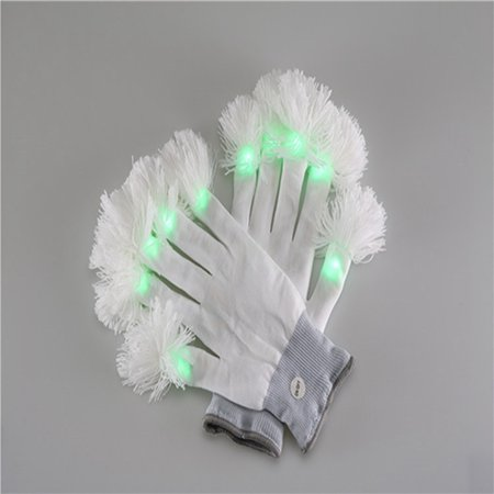 Premium LED Lighting Gloves, Flashing Fingers Emazing Lights, Battery Powered, One Pair
