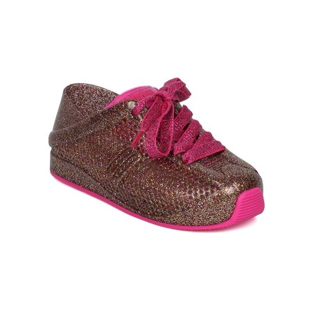 Girls Pvc Perforated Sneaker  Toddler Girl    Lace Up Jogger Sneaker   Little Girl Comfy Walker Shoe   Mini Love System By Mini Melissa Collection
