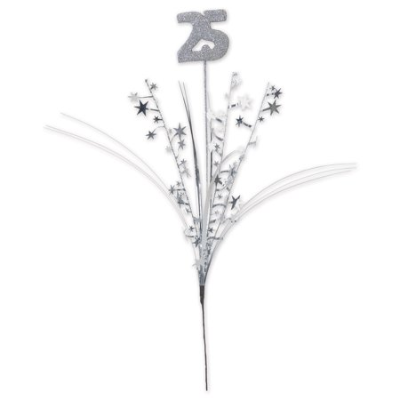 Pack of 12 Silver Glittered  '25'  Metallic Star Anniversary Themed Spray 23