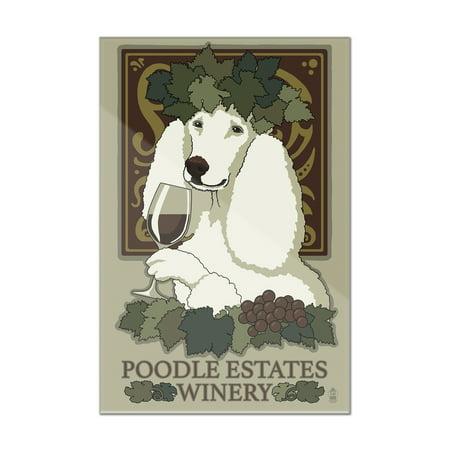 Poodle - Retro Winery Ad - Lantern Press Artwork (8x12 Acrylic Wall ...