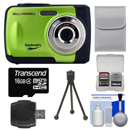 Bell & Howell Splash WP10 Shock & Waterproof Digital Camera (Green) with 16GB Card/Reader + Case + Tripod + Accessory Kit