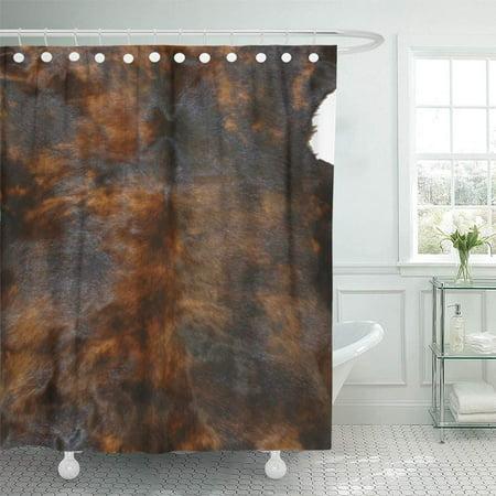 SUTTOM Fur Cowhide Rich Tri Brown Hide Tooled Western Shower Curtain 60x72 inch