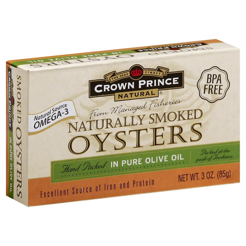 Crown Prince Canned Naturally Smoked Oysters, in Pure Olive Oil, 3 Oz by Crown Prince
