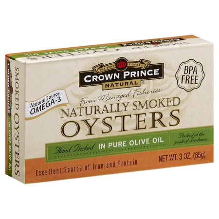 Crown Prince Canned Naturally Smoked Oysters, in Pure Olive Oil, 3 Oz