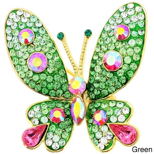 Fantasyard Base Metal Multi-color Crystal Butterfly Pin Brooch Pendant