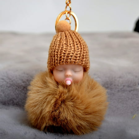 Cute Nipple Knitted Hat Sleeping Baby Doll Fake Fur Fluffy Lovely Ball Keychain Bag Key Rings Car Key Pendant Ornaments Gifts Style