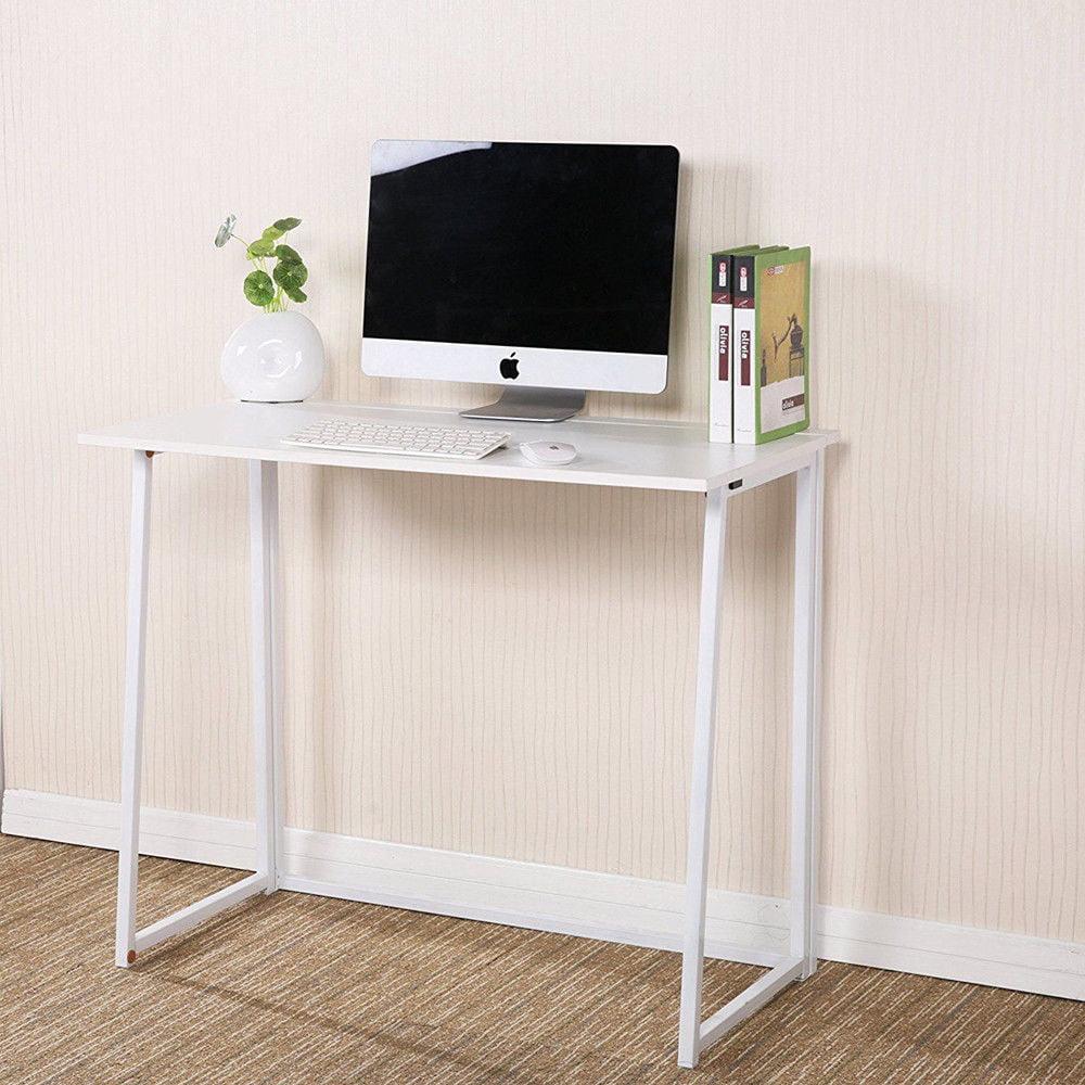 Office Study Work Table Furniture White, Portable Folding Computer Desk Laptop Table Workstation Furniture