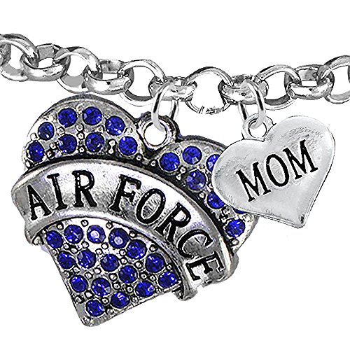 Air Force Mom Heart Bracelet, Adjustable, Hypoallergenic, WILL NOT IRRITATE Anyone With Sensitive Skin. Safe- Nickel, Lead and Cadmium Free