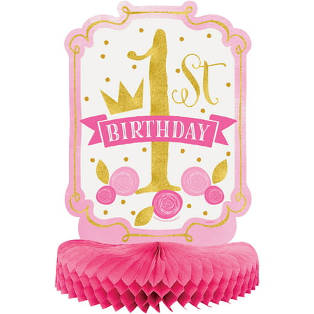 (3 Pack) Unique Pink and Gold Girls First Birthday Centerpiece Decoration 14""