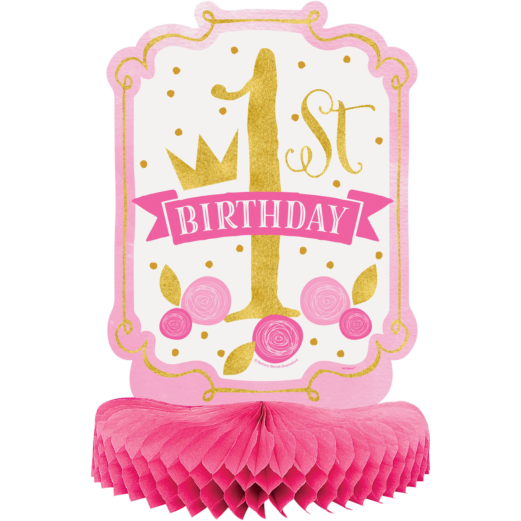 Pink and Gold Girl's First Birthday Centerpiece, 14in