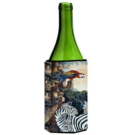 Zebra Wine Bottle - Zebras and Parrots Wine Bottle Beverage Insulator Hugger JMK1200LITERK