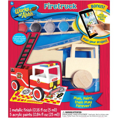 Works of Ahhh... Wood Painting Kit, Fire Truck