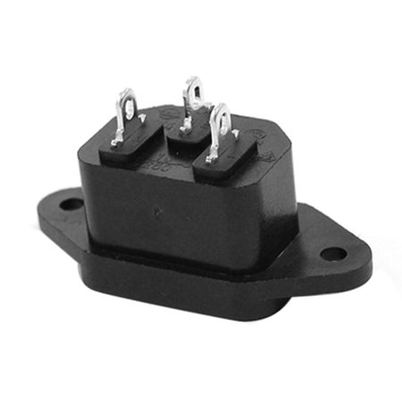 3 Terminals IEC320 C14 Inlet Black Power Socket 250V Csetf