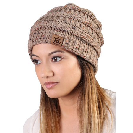 af75df2e48e Funky Junque s FJ Knit Cap Women s Men s Winter Hat Soft Slightly Slouchy  Confetti Beanie - Taupe