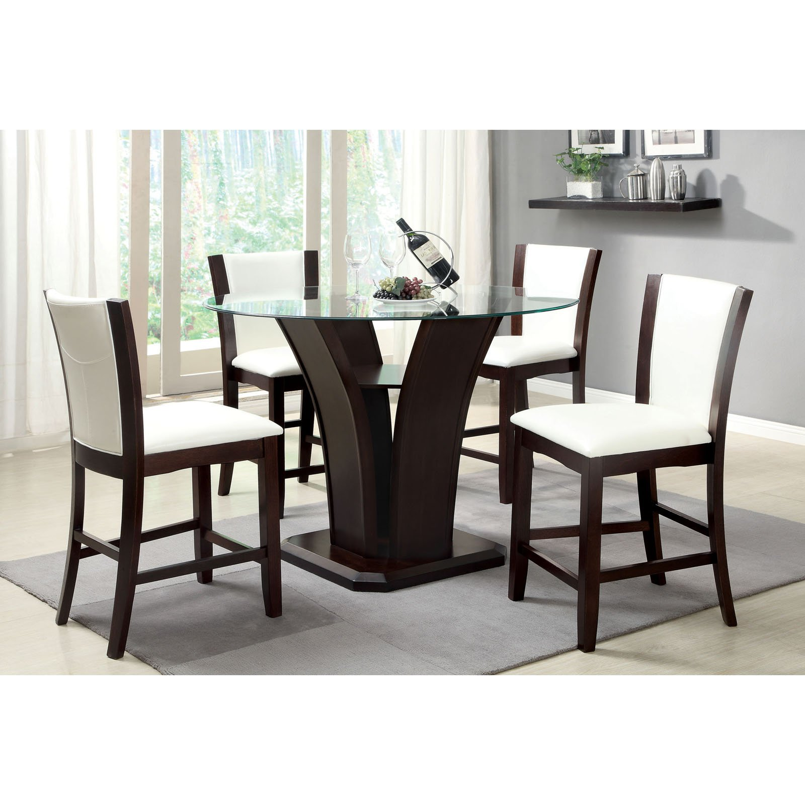 Furniture of America White Lavelle 5 Piece Contemporary Counter Height Glasstop Table Set