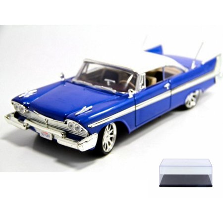 - Diecast Car & Display Case Package - 1958 Plymouth Fury, Blue With White Roof - Motormax Custom Classics 79011 - 1/18 Scale Diecast Model Car w/Display Case