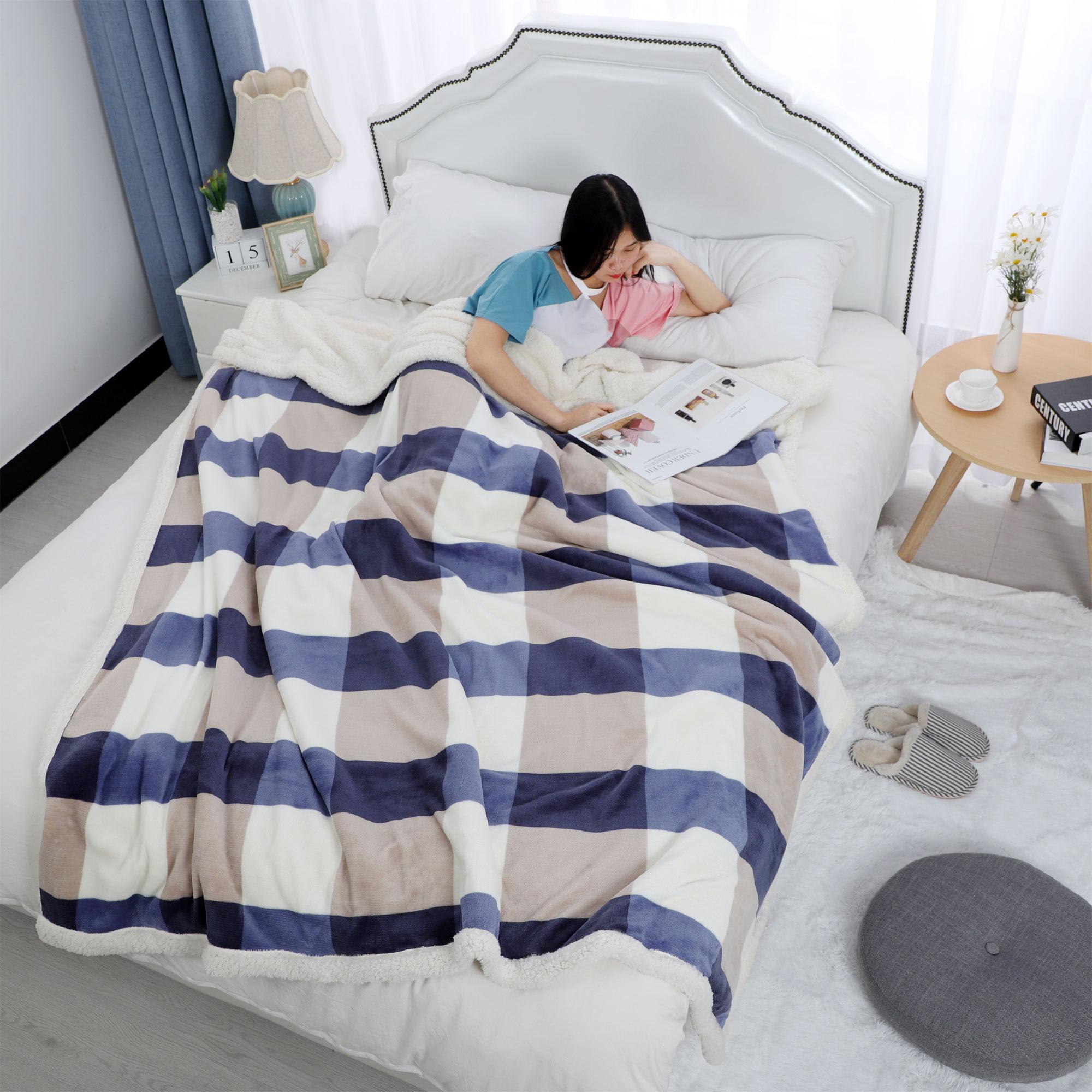 "Soft Faux Lambswool Blanket Reversible Plaid Pattern Bed Blanket Full 70"" x 78"" - image 6 de 8"