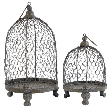 A&B Home Phineas Hanging Wire Mesh Candle Holders, Set of 2, 13-Inch and 9-Inch