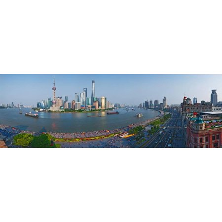 Elevated View Of Skylines Oriental Pearl Tower The Bund Pudong