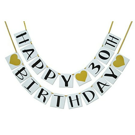Happy 30th Birthday Banner - Gold Hearts and Ribbon - Birthday Decorations (30th Bday Decorations)