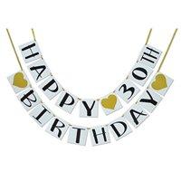 Happy 30th Birthday Banner - Gold Hearts and Ribbon - Birthday Decorations