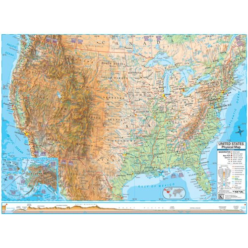 Universal Map Advanced Physical United States Laminated Rolled Map