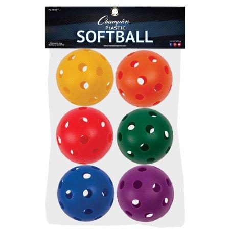 Champion Sports Set (Plastic Softball Set, 6 Assorted Colors, plastic By Champion Sports )