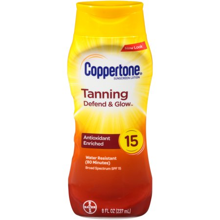 Coppertone Tanning Defend & Glow Sunscreen Vitamin E Lotion, SPF 15, (Tanning Shimmer)