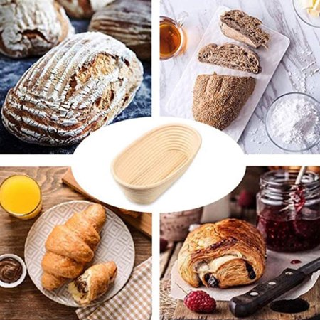 AIHOME Oval Shaped Bread Banneton Proofing Basket with Bread Lame Butter Brush Baking Dough Bowl Gifts for Bakers - image 7 of 9