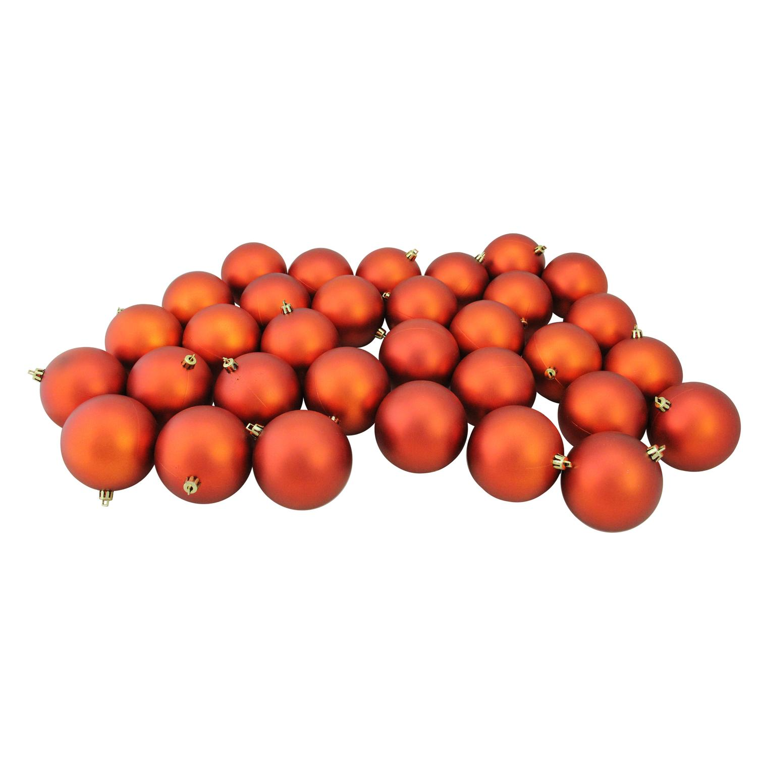 "32ct Matte Burnt Orange Shatterproof Christmas Ball Ornaments 3.25"" (80mm)"