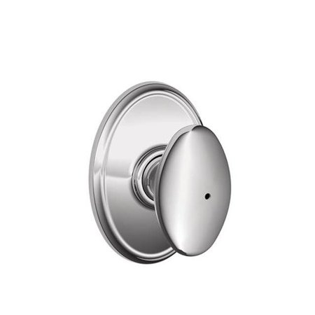 Schlage F40 Siena With Wakefield Rose Privacy Lock with 16080 Latch 10027 Strike Bright Chrome Finish