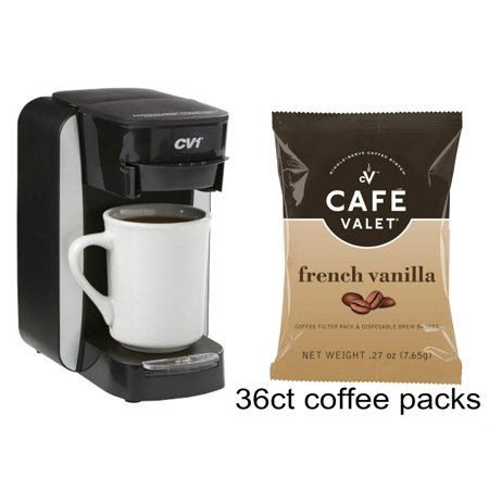 Miele Coffee System - Café Valet Platinum Brewer Single Serve Coffee System and 36-Count Café Valet French Vanilla One-Cup Coffee Filter Packs with Disposable Brew Basket