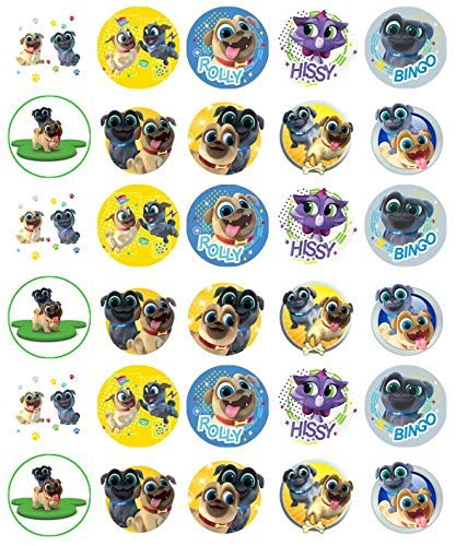 """Puppy Dog Pals Assorted Cupcake Toppers 1.5"""" Round - Set ..."""