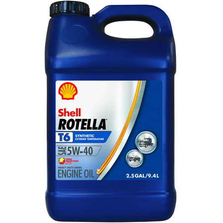 Rotella T6 5W-40 Full Synthetic Heavy Duty Engine Oil, 2.5 gal