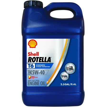 (3 Pack) Rotella T6 5W-40 Full Synthetic Heavy Duty Engine Oil, 2.5 gal