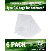 Green Label 6 Pack Type Q / Type C HEPA Vacuum Bags for Kenmore 24325 Canister Vacuum Cleaners (compares to 53292, 50557, 50558) Ultra Strong Replacement Style Q/C vacuum bags