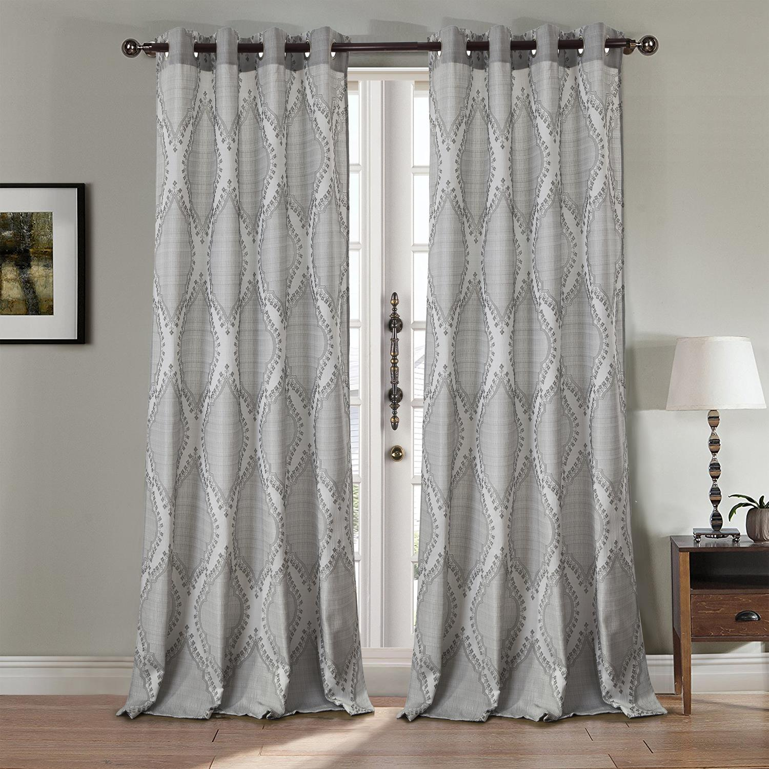 Glendale Jacquard 54 x 84 in. Grommet Curtain Panel, Silver