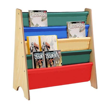 kids rack storage bookshelf wood sling organizer bookcase. Black Bedroom Furniture Sets. Home Design Ideas
