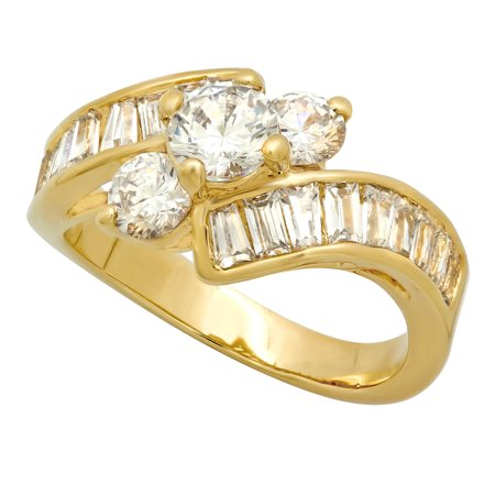 Gold Plated Channel Set (14k Gold Plated Cubic Zirconia Engagement Ring, 3-Stone Round + Channel Set Baguette CZs, Size 4-12 )