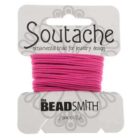 BeadSmith Soutache Braided Cord 3mm Wide - Deep Pink (3 Yard Card)