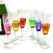 INNOKA [LED Champagne Flute] Clear Plastic Glass Like Champagne Flute (Set of 6 Multi-Color) LED Light Up Wine Champagne... by Plastic Glasses