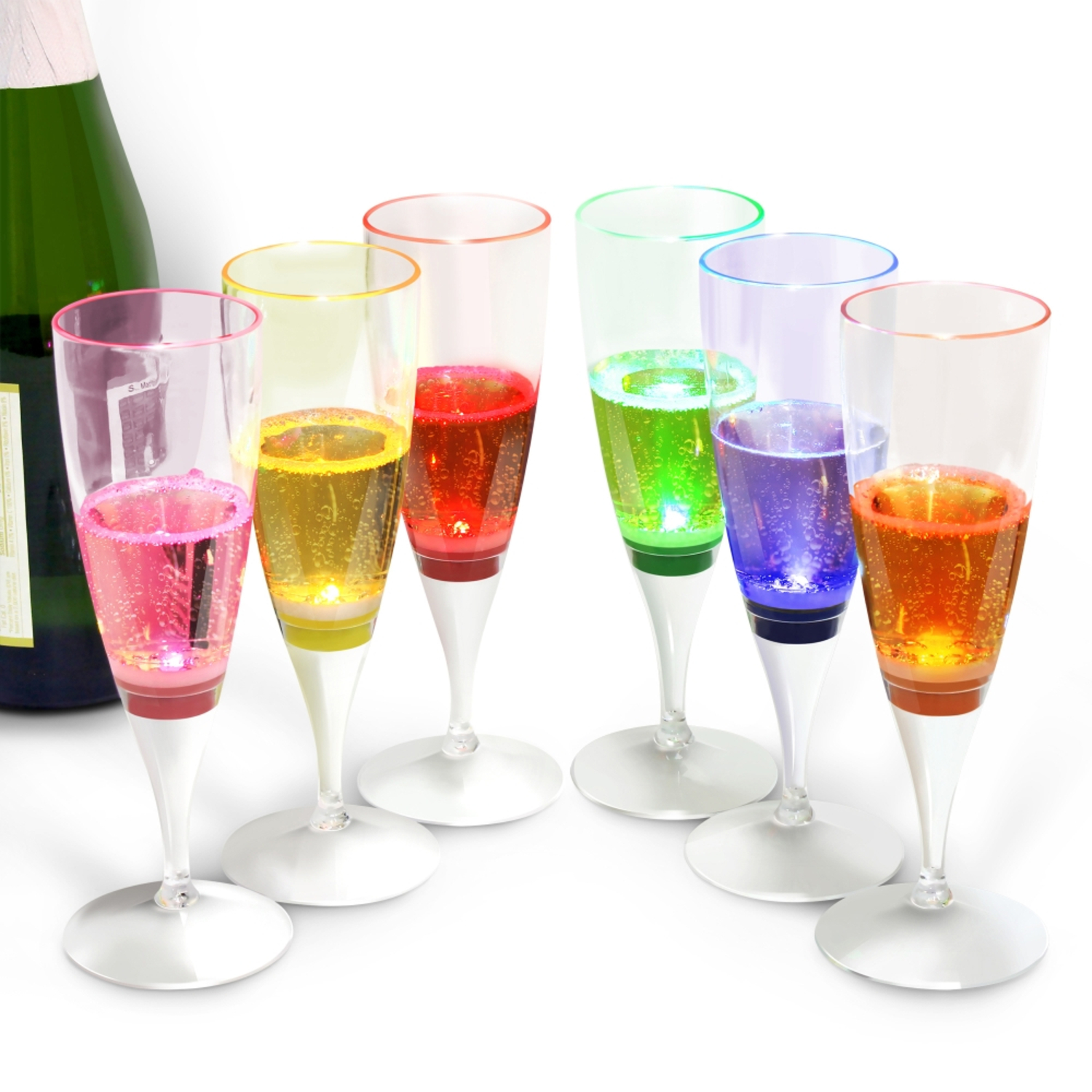 INNOKA [LED Champagne Flute] Clear Plastic Glass Like Champagne Flute (Set of 6 Multi-Color) LED Light Up Wine Champagne Liquid Activated Perfect for Wedding Party Pool Toasting Special Occassions